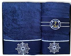 Набор полотенец махровых Турция Marine Blue 3 шт. в подарочной упаковке