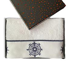 Полотенце махровое Турция Marine White 50*100 см КОМПАС в подарочной упаковке