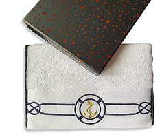 Полотенце махровое Турция Marine White 50*100 см ЯКОРЬ в подарочной упаковке