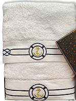 Набор  банных полотенец махровых Турция Marine White 2 шт. ЯКОРЬ в подарочной упаковке