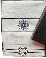 Набор банных махровых полотенец Турция Marine White 2 шт. ЯКОРЬ и КОМПАС в подарочной упаковке
