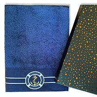 Полотенце Банноемахровое 100% хлопок 85*150 см Турция Marine Blue ЯКОРЬ в подарочной упаковке