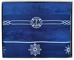 Набор банных махровых полотенец Турция Marine Blue 2 шт. ЯКОРЬ и КОМПАС в подарочной упаковке