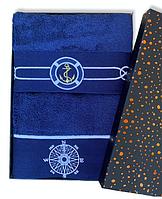 Полотенца махровые Турция Marine Blue 50*100 2 шт. в подарочной упаковке