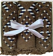 Подарочный набор жаккардовых полотенец Турция Khaki