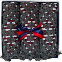 Подарочный набор жаккардовых полотенец Турция Graphite