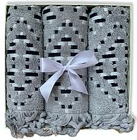 Подарочный набор жаккардовых полотенец Турцияи Gray