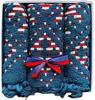 Подарочный набор жаккардовых полотенец Турция Dark Navy