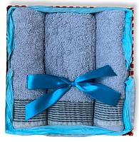 Подарочный набор махровых полотенец Турция  BLUE