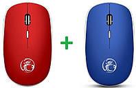 Бесшумная беспроводная мышь G-1600 для PC 2.4 ГГц красная + синяя с одним радиомодулем, фото 1