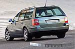 Volkswagen Passat B5 1997-2005 рр. Накладки на задній бампер SW (Omsa, нерж.) 2000-2006, Матова поліровка