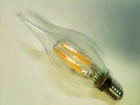 Светодиодная лампа Lemanso Filament LED LM393 4W С35 Е14 3000K (свеча на ветр, прозрачная) Код.58528