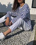 Жіноча тільник, турецький трикотаж, р-р універсальний 42-46 (білий+синій), фото 3
