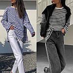 Женская тельняшка, турецкий трикотаж, р-р универсальный 42-46 (белый+синий), фото 4