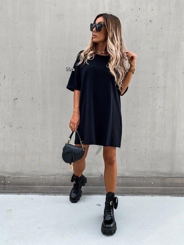 Женское платье, турецкая двунить, р-р С-М; М-Л (чёрный)