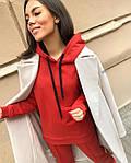 Женский спортивный костюм, турецкая двунить, р-р С-М; М-Л (красный), фото 2