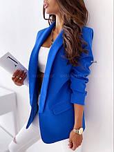 Жіночий піджак, креп - костюмка класу люкс, р-р С-М; М-Л (електрик)