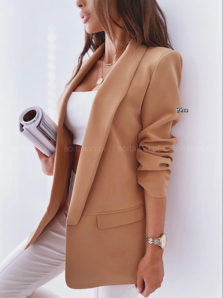Жіночий піджак, креп - костюмка класу люкс, р-р С-М; М-Л (кемел)