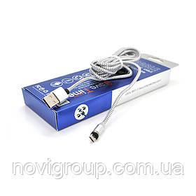 Магнітний кабель PiPo USB 2.0 / Micro, 2m, 2А, тканинна оплетка, броньований, знімач, Silver, BOX