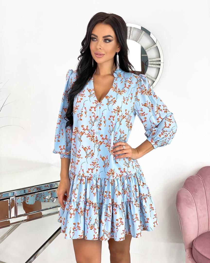 Женское платье, супер - софт, р-р 42-44; 46-48 (голубой)