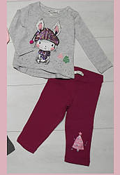 Комплект для девочки демисезонный, футболка длинный рукав+лосины( Зайка в шапке), Breeze (размер 74)