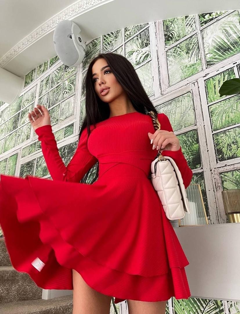 Жіноче плаття, трикотаж - рубчик, р-р 42-44; 44-46 (червоний)