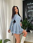Женское платье, трикотаж - рубчик, р-р 42-44; 44-46 (голубой), фото 2