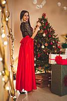 Платье вечернее Гипюровое с красной атласной юбкой