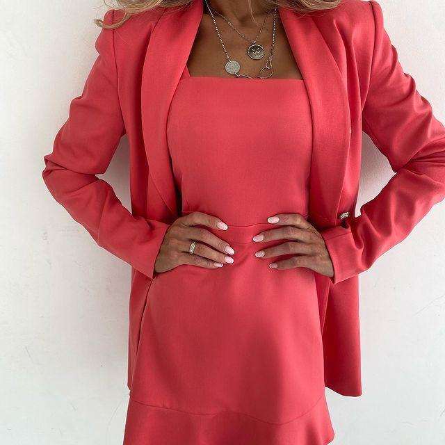 Женское платье + тренч, костюмка класса люкс, р-р 42-44; 44-46 (коралл)