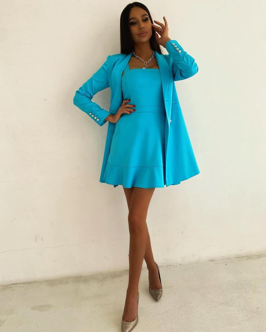 Женское платье + тренч, костюмка класса люкс, р-р 42-44; 44-46 (бирюзовый)