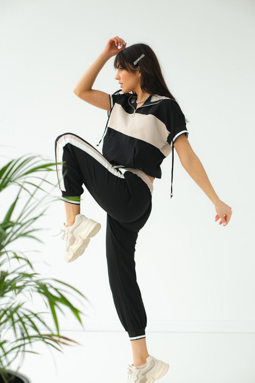 Спортивный костюм женский летний  PERRY - бежевый цвет, M (есть размеры)