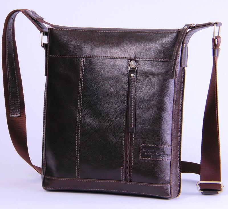 d5abe5c1ba44 Мужская кожаная сумка через плечо Tom Stone 503BR коричневый - SUPERSUMKA интернет  магазин в Киеве