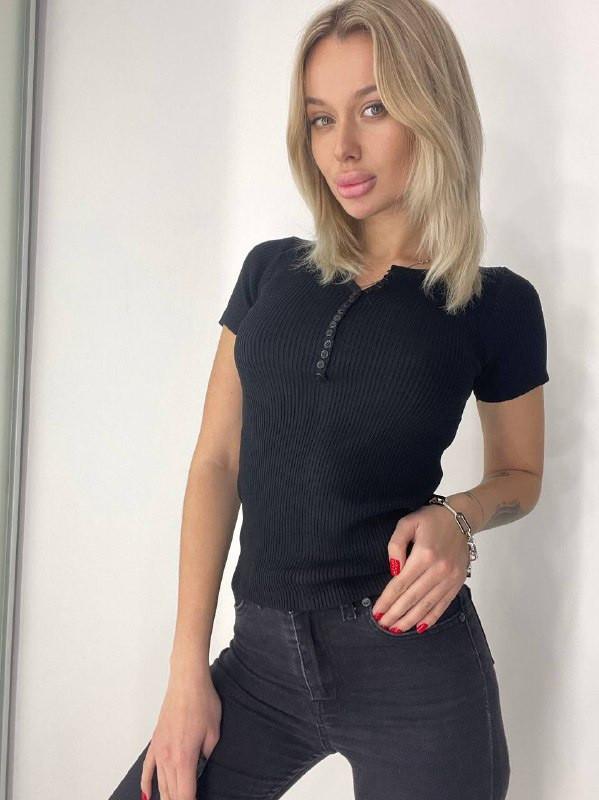 Женская футболка, трикотаж - рубчик, р-р универсальный 42-46 (чёрный)