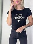 Женская футболка, коттон, р-р универсальный 42-46 (чёрный), фото 5