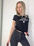 Жіноча футболка, коттон, р-р універсальний 42-46 (чорний), фото 2