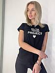 Женская футболка, коттон, р-р универсальный 42-46 (чёрный), фото 3