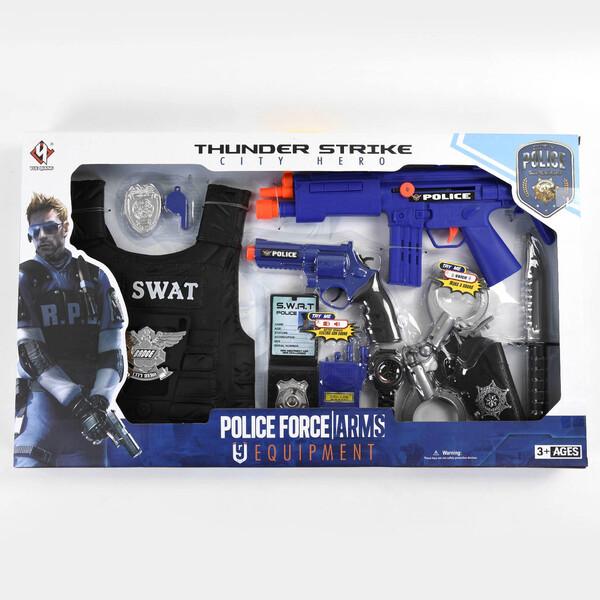 Набор полицейского с жилетом автоматом наручниками детский Thunder Strike Синий (57360)