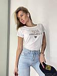 Жіноча футболка, коттон, р-р універсальний 42-46 (білий), фото 5