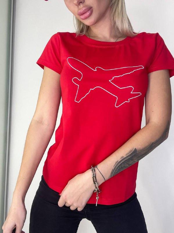 Жіноча футболка, коттон, р-р універсальний 42-46 (червоний)