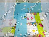 Детское постельное белье и защита (бортик) в детскую кроватку (садовник голубой)
