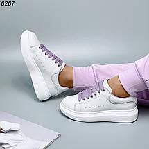 Кеды женские белые кожаные с фиолетовыми шнурками, фото 2