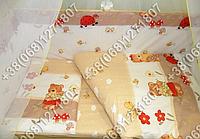 Детское постельное белье и защита (бортик) в детскую кроватку (садовник бежевый)