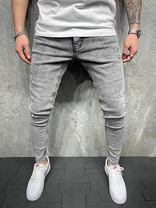 Мужские зауженные джинсы серого цвета, фото 2