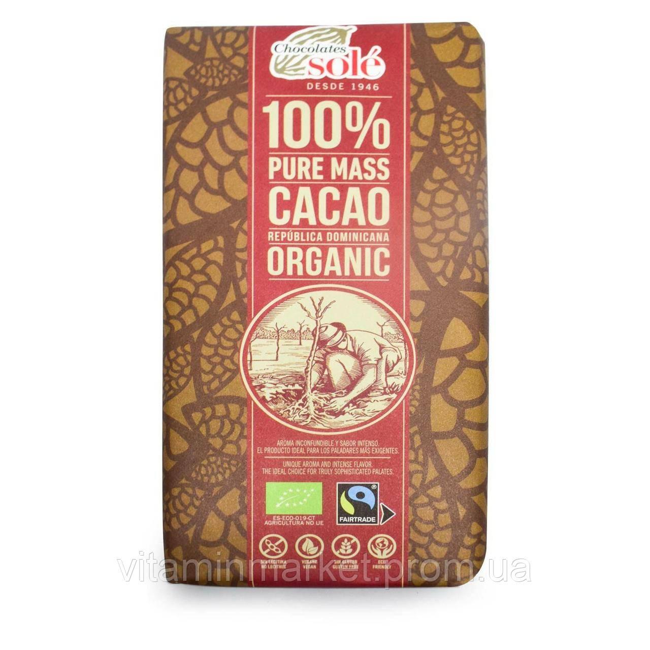 Шоколад чорний, 100% какао, «Chocolates Sole», 100 гр., ORGANIC