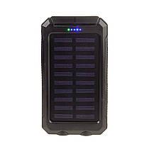 Портативное зарядное устройство - внешний аккумулятор power bank на солнечной батарее 20000 мА с фонариком