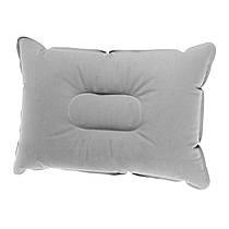 Надувная туристическая подушка для кемпинга серая