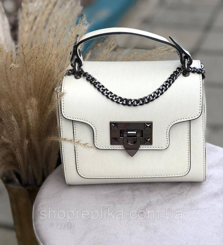 Маленькі жіночі сумки клатч через плече Італія натуральна шкіра Віра Пелле кроссбоди білий df2652A