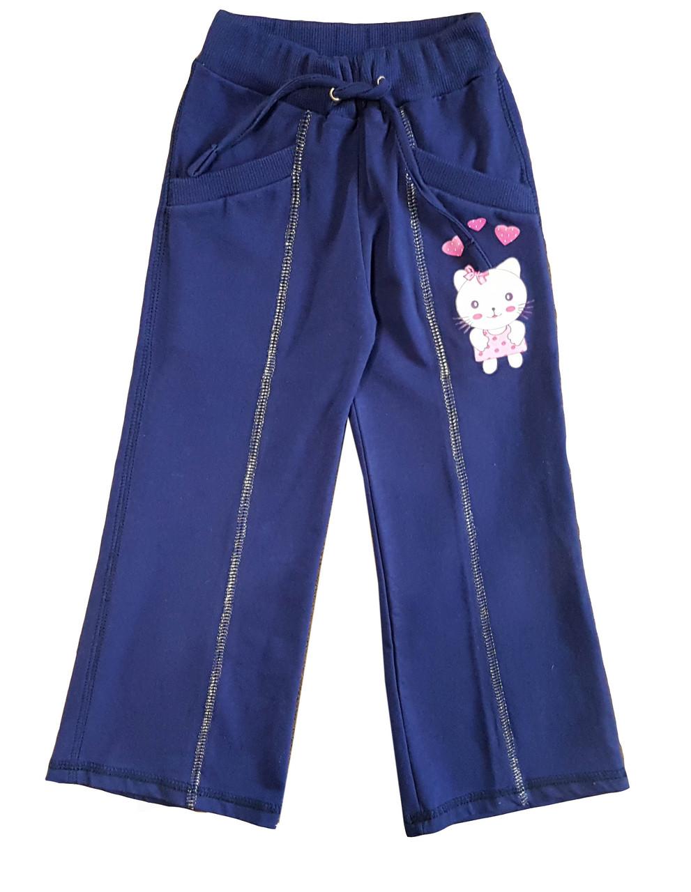 """Штани для дівчинки темно-сині """"Звірята"""", ріст 104"""