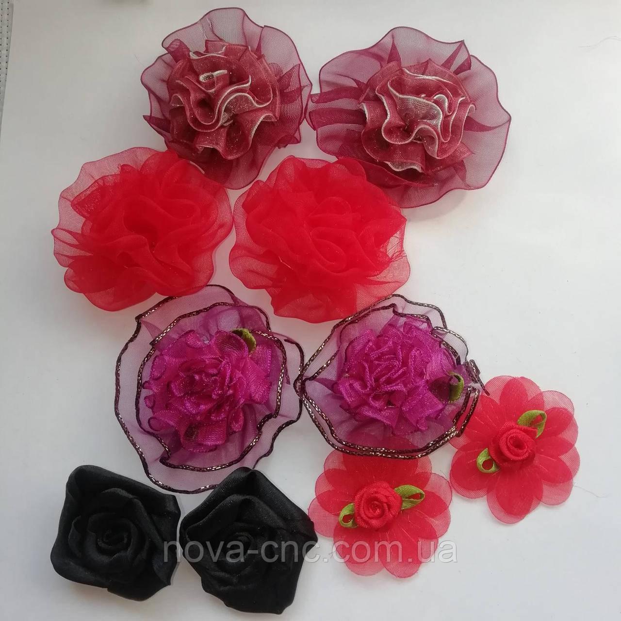 Квіти з шифону для декору Мікс 35 мм, 50 мм 10 шт