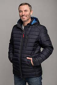 Куртка чоловіча демісезонна стьобана з блакитним капюшоном, розмір 50, 52,53, 54, 56, 58